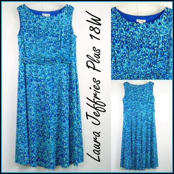 ffa3b4a5f5a4e Laura Jeffries Dresses & Skirts - 18W Summer Dress Blue Green Stretch Laura  Jeffries